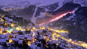 lakes fantastic ski resort night lights mountains wide resolution