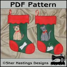 pdf pattern for felt pets stockings cat u0026 dog christmas