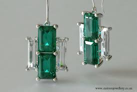 diamond earrings nz deco emerald cut emeralds and baguette cut diamond earrings