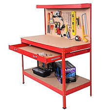 127 Best Workbench Ideas Images On Pinterest Workbench Ideas by Red Working Bench With Drawer And Peg Board Work Bench Tool