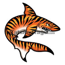 orange tiger shark temporary swimming designs by custom tags