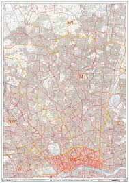 London Zip Code Map by North London N Postcode Wall Map Xyz Maps