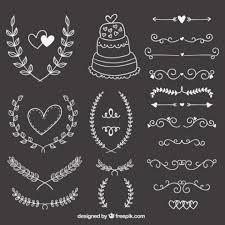 free vector wedding ornaments on blackboard 14896
