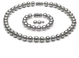 necklace pearl set images Sterling silver grey pearl complete set of aaa quality 6 5 7 0mm png