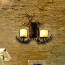 Country Candle Wall Sconces Antler Wall Sconces 2 Light Resin Painting Finish
