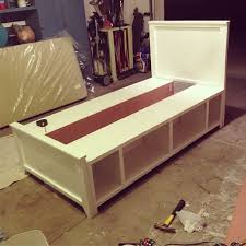 Queen Platform Bed With Storage Plans by Diy Twin Bed Built In 2 Days Some Needs To Build This For My