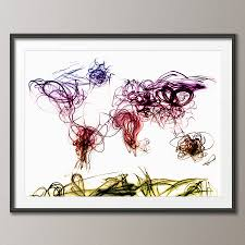 World Map Artwork by Light Painting World Map Art Print By Artpause