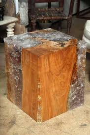 wood cube end table resin and teak wood cube table for sale at 1stdibs