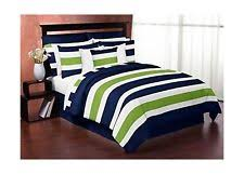 navy blue and lime green stripe 4pc twin teen bedding set