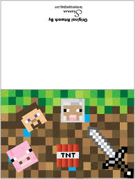free printable birthday invitations minecraft 24 images of minecraft cards template unemeuf com