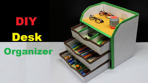 Diy Office Desk Accessories by How To Make A Diy Desk Organizer Using Cardboard Youtube