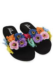 urban mist multi colour flower black wedge slider sandals urban