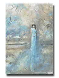 Abstract Home Decor Original Art Abstract Figurative Painting Woman Blue Dress Wall