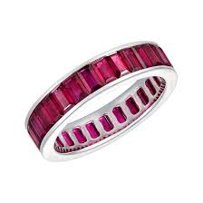 ruby eternity ring emerald cut ruby eternity ring