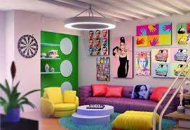 basement living room with pop art design with colorful wall