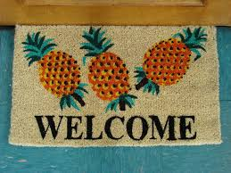 printed coco coir doormat welcome pineapple design click image