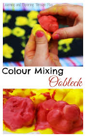 learning exploring play frozen oobleck colour mixing