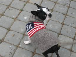 Boston Terrier Flag American Flag Dog Sweater Chilly Dog Sweaters
