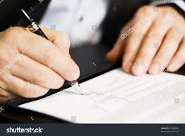 Office Desk Close Up Businessman Sitting Office Desk Signing Contract Stock Photo