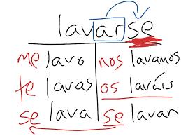 reflexive verb conjugation lavarse spanish pinterest