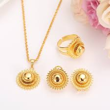 small gold necklace sets images Bangrui ethiopian small set womenjewelry necklace earrings ring jpg