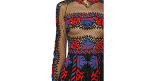 tribal dress lyst valentino tribal embroidered tulle dress