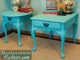 Turquoise Side Table Turquoise Nightstand Makeover Times Two Restoration Redoux