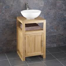 Oak Bathroom Furniture Clickbasin Cube Solid Oak 46cm Square Freestanding Vanity Unit And