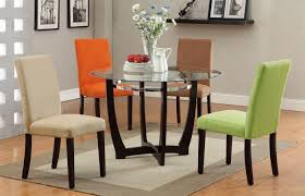 Round Dining Room Tables For 4 by F2348 5 Pcs Glass Top Round Dining Table 4 Color Chair Set