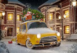 amazing funny retro car with christmas tree and gift boxes on