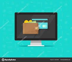 bureau de transfert d argent porte monnaie électronique sur icône illustration vectorielle