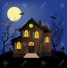 halloween full moon background halloween horror scene or postcard background royalty free