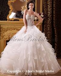 allens bridal organza and satin sweetheart floor length ball