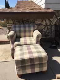 Plaid Ottoman Oversized Plaid Chair And Ottoman Armchair Furniture In Santa
