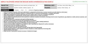 Hotel Resume Sample by Hotel Telephone Operator Resumes Samples