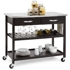 mobile kitchen island best choice products mobile kitchen island utility cart w stainless