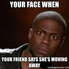 Moving Meme Generator - your face when your friend says she s moving away kevin hart