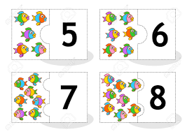 learn counting 2part puzzle cards to cut out and play fish themed