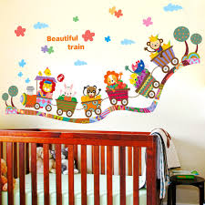 aliexpress com buy beautiful train wall sticker cartoon animals aliexpress com buy beautiful train wall sticker cartoon animals train wall poster for kids babies room diy home decor wallpaper nursery wall art from