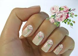 very chic pink shabby victorian vintage rose nail art