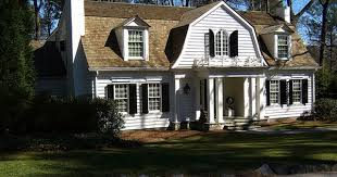 Dutch Colonial Home Plans Dutch Colonial With Boxwoods And Window Boxes Outside