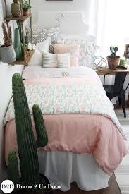 peach u0026 green cactus designer dorm bedding set top dorm room