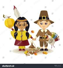 Thanksgiving Costumes Child Pilgrim Indian Thanksgiving Indian Pilgrim Boy Stock Vector 719004184