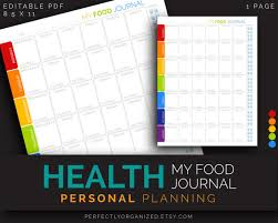 printable planner diary health fitness diet yoga food journal menu diary calories
