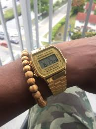 casio a168 casio vintage collection a168 x enbois light brown bracelet