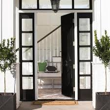 Front Door Windows Inspiration Plank Front Door With Square Window Mediterranean Home Exterior