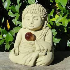 meditating buddha w cat s eye designer garden shop