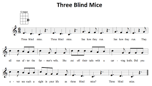 Three Blind Mice Piano Notes 1 Chord Songs Uke Can Do It