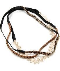 beaded headband multipack gold lace brown braid beaded headbands zumiez