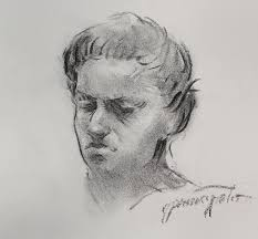 charcoal portrait sketch drawing by ernest principato